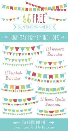 Get this amazing set of 66 FREE bunting banners created by Amanda Ilkov. The perfect cute collection to add to your design library. Commercial use included.