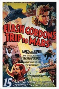 LARRY CRABBE as FLASH GORDON in TRIP TO MARS movie poster 1938 UNIQUE 24x36