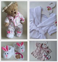 Build a Bear fit Teddy Bear Clothes Smartie PJ's WHITE Robe & Slippers Teddies Outfit: Amazon.co.uk: Toys & Games