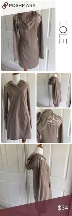LOLE hooded sweater dress  S ♦️Excellent condition. No holes, stains or piling.                                                  ♦️Materials- 65 recycled polyester/ 35 cotton.  ♦️Measurements:                                  ♦️Laying flat armpit to armpit: approximately 17 inches.                                                 ♦️Laying flat from the back of the neck to the bottom of the front hem is approximately 32 inches Lole Dresses
