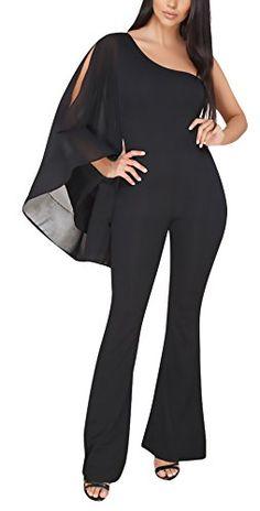 c031ea1800a59f Jumpsuit Damen Lang Elegant Sommer Chiffon One Shoulder Langarm Overall  Trägerlos Rückenfrei Mädchen Kleidung Asymmetrisch Uni