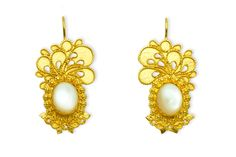 GOLD FILIGREE EARRINGS WITH MOTHER OF THE PEARL Orecchini in filigrana in oro 18kt con Madreperle