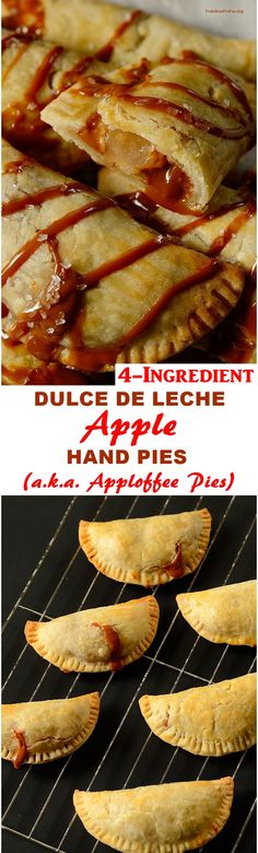 4-INGREDIENT Dulce de Leche Apple Hand Pies (a.k.a. Apploffee hand pies) - quick to make decadent, and portioned control. Easy, mess-free to transport everywhere. They can be served with a drizzle of caramel or a scoop of ice cream.