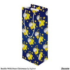 #Bauble With #Stars #Christmas #Wine #Gift #Bag