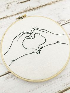 Funny hoop art Hand embroidery Embroidery hoop art Heart hands Custom…