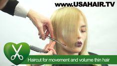 Haircut for movement and volume thin hair. parikmaxer TV USA