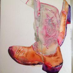 """""""Cowgirl Up"""" by Texas Watercolor Artist, Karen Scherrer"""