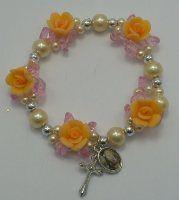 Elastic Peach Rose Rosary Bracelet. Rosary Bracelet, Rosary Beads, Peach Rose, Our Lady Of Lourdes, Religious Gifts, Crucifix, Pendant, Bracelets, Jewelry