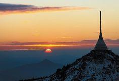 Ještěd Czech Republic, Modern Architecture, Airplane View, Mount Everest, Paradise, Environment, Mountains, Night, Places