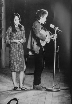 Joan Baez and Bob Dylan on stage during the 1960s