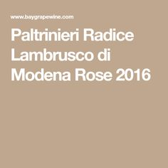 Paltrinieri Radice Lambrusco di Modena Rose 2016