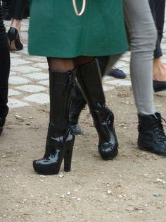 louis vuitton high heel wellies  stövlar