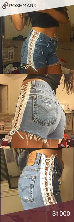 OFFERS side lace up distressed Levi shorts High waisted and so cute! Hand made… - https://sorihe.com/adidas/2018/02/28/offers-side-lace-up-distressed-levi-shorts-high-waisted-and-so-cute-hand-made/