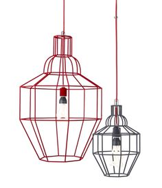 Riviera Large Red Pendant ($199) and Riviera Small Grey Pendant ($129) by Paola Navone Only at Crate & Barrel. These attenuated wire frames are just right for 2013, and the gray and red colorways add a subtle amount of color to a dining room.