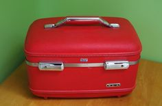 Vintage Red American Tourister Train Case Luggage with Vanity Tray and Original Key by retrowarehouse on Etsy