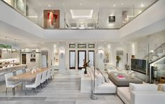 Exquisite modern coastal home in Florida with luminous interiors - - A modern coastal home with square feet of luxurious living space was designed by MHK Architecture & Planning in Naples, Florida. Dream Home Design, Modern House Design, Home Interior Design, Modern Interior, Room Interior, Interior Ideas, Modern Houses, Luxury Interior, Coastal Living Rooms