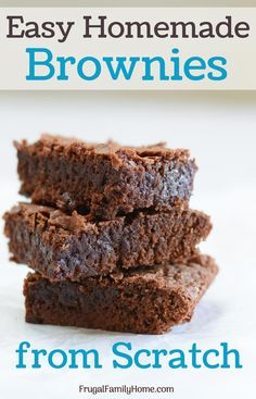 Make homemade brownies from scratch, these turn out so chewy and fudge like. This fudge brown recipe makes a pan of brownie recipe. Enough home made brownies for the whole family and a few to share too. Cake Like Brownies, Best Brownies, Fudge Brownies, Making Brownies, One Bowl Brownies, How To Make Brownies, Ultimate Brownie Recipe, Easy Desserts, Health Desserts