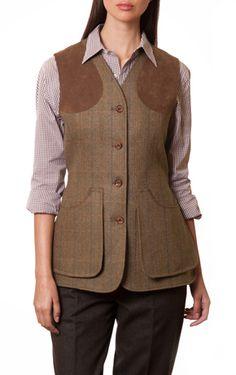 Light Brown/Electric Blue Dartmoor Tweed Women's Shooting Vest