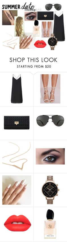 """""""Summer date: Rooftop Bar"""" by andreea-sasaran ❤ liked on Polyvore featuring Miss Selfridge, Missguided, Linda Farrow, Olivia Burton, Lime Crime, Giorgio Armani, summerdate and rooftopbar"""