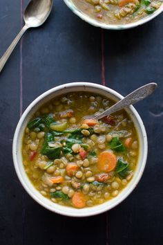 This Lentil Soup is amazing! It's made with sun dried tomatoes, a bit of white wine and lots of veggies. | @tasteLUVnourish