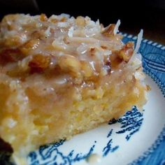 Peach Cake with Coconut Icing/ I'm pinning this simply for the peach cake...I won't be using coconut.