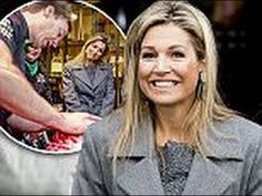 Queen Maxima of The Netherland steps out to visit a butchery demonstration