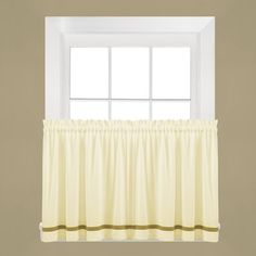 "Charlton Home Navarre Tier Curtain Color: Natural, Size: 24"" H x 57"" W x 1.5'' D"