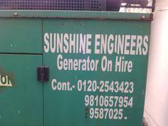 www.sunshineengineersindia.com Generator on Repairs, Rent & AMC for all Types of Generators #Sunshine Engineers -  9810657954, 9810558953