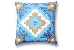Sean 18x18 Cotton Pillow, Blue | Instant Refresh | One Kings Lane