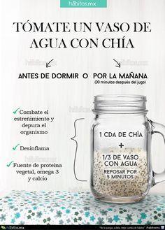 Hábitos Health Coaching   TOMATE UN VASO DE AGUA CON CHÍA