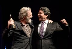 Actor Jeff Bridges accepts the American Riviera Award from actor Gil Birmingham onstage at the Arlington Theatre on February 9 2017 in Santa Barbara. Thunderbolt And Lightfoot, Cole Hauser, Crazy Heart, Jeff Bridges, The Big Lebowski, India, Celebs, Celebrities, Best Actor