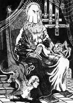 a super creepy llustration by frank utpatel, from 'selected poems by h.p. lovecraft' published by arkham house