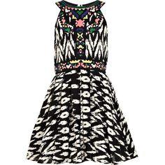 River Island Girls black aztec prom dress ($30) found on Polyvore