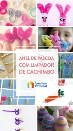Como fazer anel para Páscoa passo a passo e outras dicas Ring Making, Pipe Cleaners, Rabbit Ears, Kid Birthdays, Creative Crafts, Diy Home, Step By Step