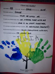 A fill-in-the-blank Father's Day assignment by Julia #kidwords #fathersday #artmykidmade