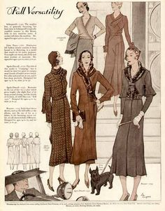 My mother sewed all our clothes.  She had a basket full of patterns - DITK....Fall versatility, 1931.