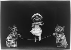 Cats playing jump rope with a doll. The cats are dressed up. LOVE IT!