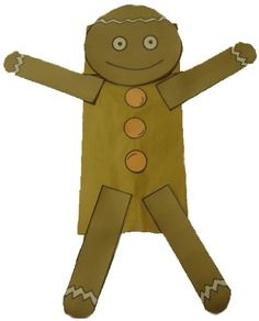 Paper bag G Man with template for face and arms and buttons.