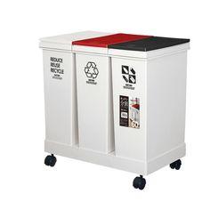 資源ゴミ横型3分別ワゴン60L RD/BK【RCP】【楽天市場】ゴミ分別大変、すぐだらしなくなっちゃって、これはいいかも