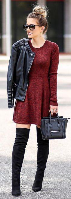 Red Dress / Black Leather Jacket / Black OTK Boots / Mini Black Leather Tote Bag