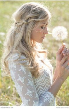 half do side #braid with blonde long curly #hair, do it with your #hairextension