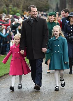 Peter Phillips with his daughters Isla (left) and Savannah arriving to attend the Christmas Day morning church service at St Mary Magdalene Church in Sandringham, Norfolk. (Photo by Joe Giddens/PA Images via Getty Images) Dec 2018