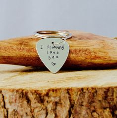 Guitar Pick keyring - I plucking love you by InkandfeatherbyKerry on Etsy