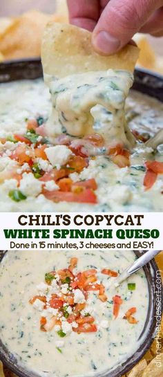 Chili's White Spinach Queso (Copycat) - Dinner, then Dessert Chili& White Spinach Queso made with fresh spinach and three cheeses served in a still warm skillet in just 10 minutes! The perfect appetizer recipe your whole family will love. Appetizer Dips, Yummy Appetizers, Appetizer Recipes, Mexican Appetizers, Spinach Appetizers, Appetizer Dinner, Mexican Dips, Holiday Appetizers, Dip Recipes