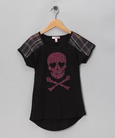 Take a look at this Black & Pink Plaid Skull Top - Toddler & Girls by Fang & Sugar Tart on #zulily today!