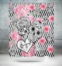 "Sugar Skull Shower Curtain , ""Locked in Love""  Black White Zig Zag  Rose Print"