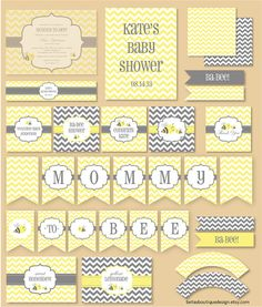 Mommy to Bee, Baby Shower, Party Printables, Paper Decorations, Event Styling, Gender Neutral, Bee, Yellow, Grey via Etsy