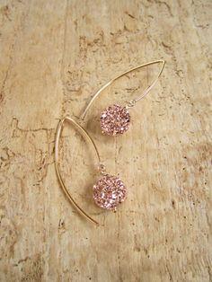 6928a483beab Rose Gold Druzy Earrings Titanium Drusy Quartz 14K Gold Fill