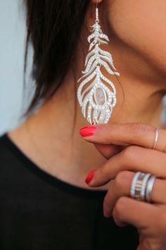 Annabelle Fleur ~ HOLIDAY LUXE :: Kendra Scott long pave feather earrings in rock crystal