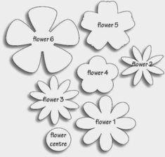 Different flower patterns, maybe for making flower pins? Different flower patterns, maybe for making flower pins? Giant Paper Flowers, Diy Flowers, Fabric Flowers, Flower Paper, Paper Butterflies, Scrapbook Paper Flowers, Wafer Paper Flowers, Origami Flowers, Spring Flowers